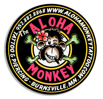 sticker for Aloha Monkey Tattoo Shop in Burnsville, MN